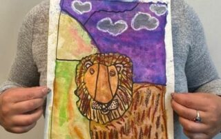 Colorful Watercolor Painting of Lion
