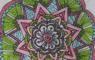 Colorful flower mandala drawing