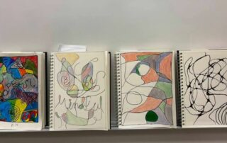 4 colorful colored pencil neurographic line drawings