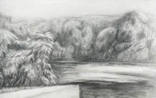 Black and white graphite drawing of trees and river rocks