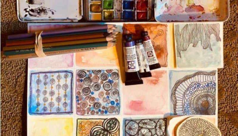 watercolor Zen doodled squares with art supplies