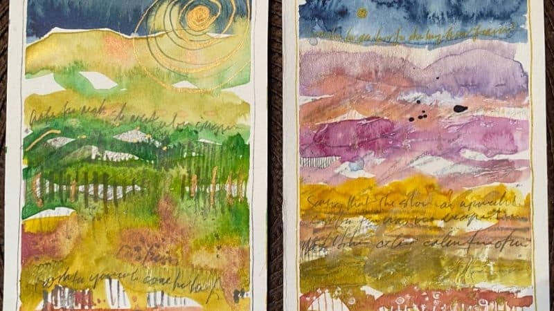 Abstract colorful landscapes with yellow, greens pinks and gold paint