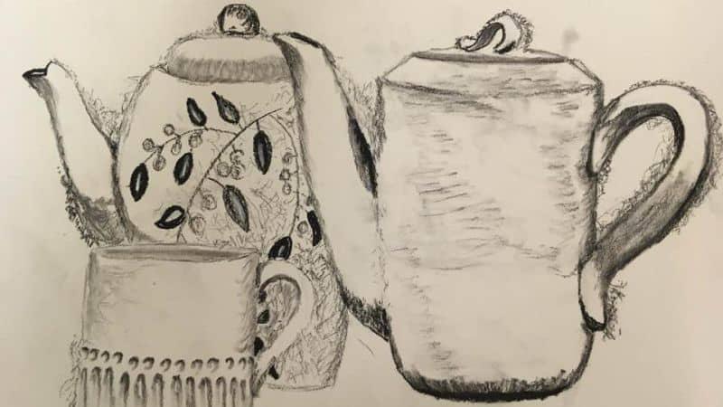Two coffee pots and a mug